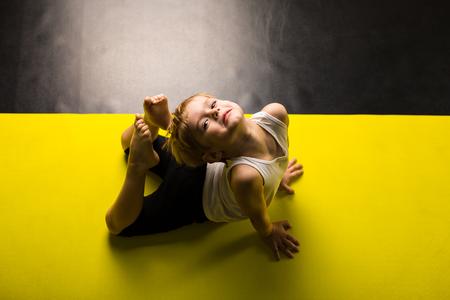 Little boy dancer in a dance studio