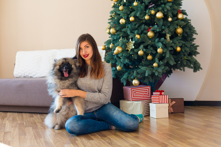 Woman and a Keeshond dog sitting near the decorated Christmas tree