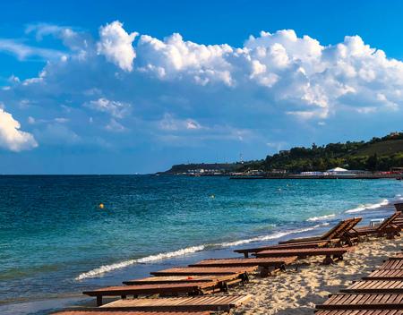 Summer beach at the sunset in Odessa, Ukraine 写真素材 - 107492353