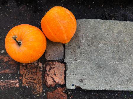 Ripe orange pumpkins lying on a ground