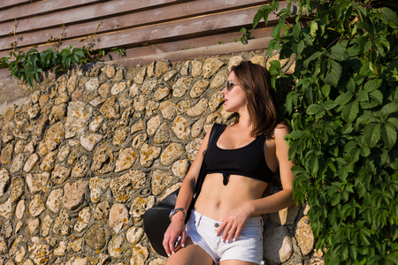 Sexy stylish woman in the summer city 写真素材 - 106612367