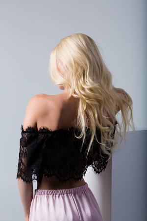Beautiful blonde woman wearing a set of lace lingerie 写真素材 - 106727350