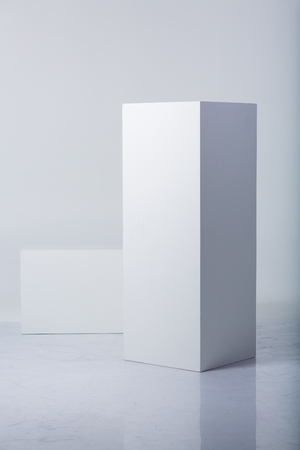 Abstract white shapes on a white backgrounds 写真素材 - 107557880
