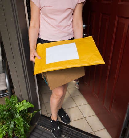 A box and a mailer on a doorstep, online order home delivery concept