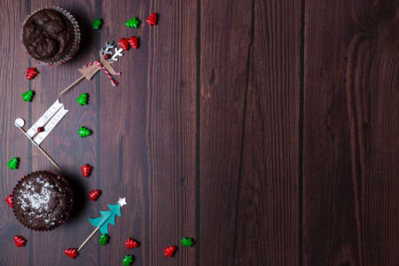Christmas background with wooden table and decor flat lay Stock Photo