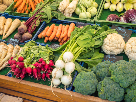 Selection of organic vegetables at the weekly market