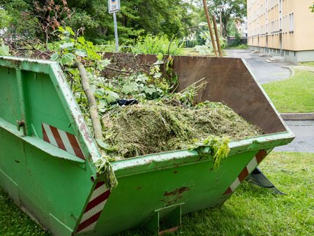 Container with green waste from green care Foto de archivo