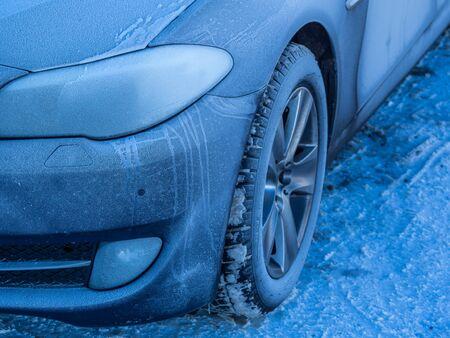 Ice crystals on a car Stok Fotoğraf - 130062953