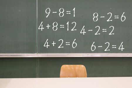 Mathematics elementary school blackboard Stockfoto
