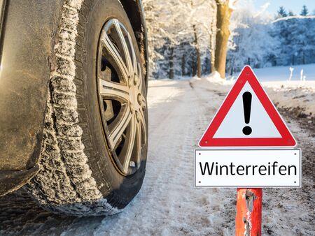 Attention winter tires Stockfoto