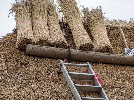 New thatched roof construction work Stockfoto