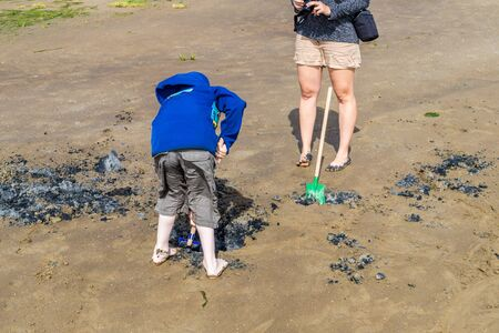 Playing in the mud flats at the North Sea