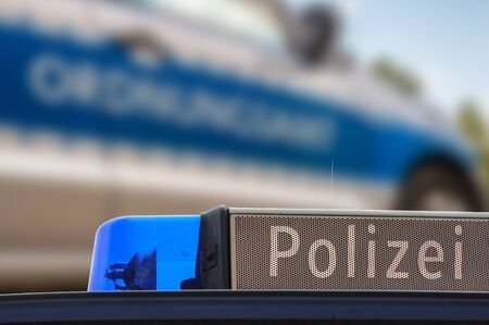 Germany blue light police Stock Photo - 130063327