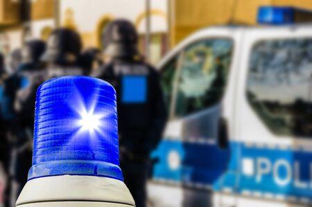 Police deployment blue light Reklamní fotografie