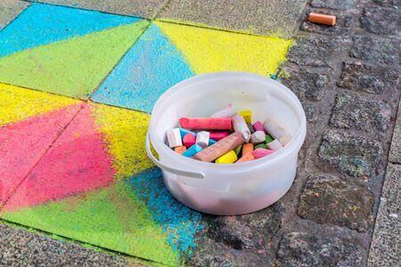 colourful street chalk