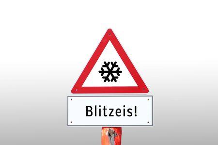 Warning sign of flash ice 写真素材