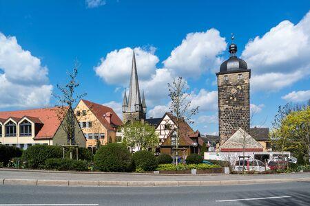 Upper gate tower in Lichtenfels Stock Photo - 130130270