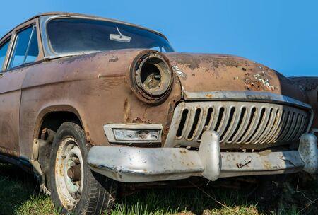 rusty russian classic car