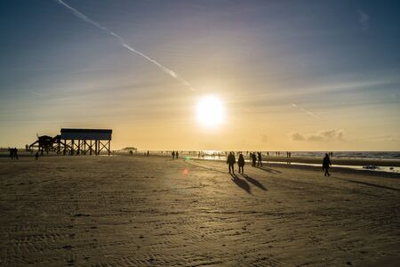 North Sea beach in Sankt Peter Ording Stock Photo