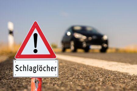 Germany Attention potholes Archivio Fotografico - 130130205