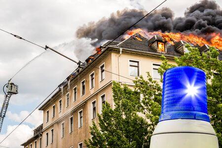 Blue light fire of a house