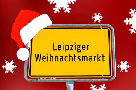 Ortstafel Leipziger Weihnachtsmarkt Standard-Bild
