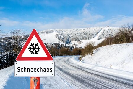 Attention snow chaos sign Stok Fotoğraf
