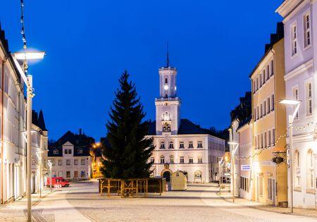 Schneeberg City Hall at night