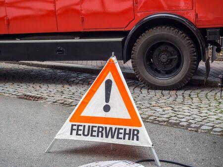 Fire brigade warning triangle