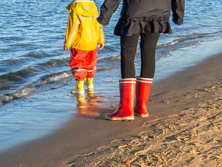 Mother and child at the sea Stock Photo