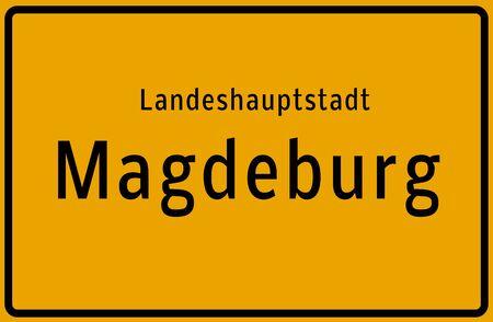 Landeshauptstadt Magdeburg Ortstafel Standard-Bild