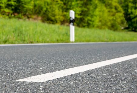 Line on the asphalt of a road Stock Photo