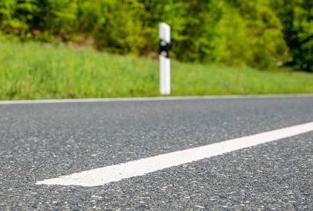 Line on the asphalt of a road