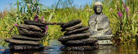 Panorama Buddha in the River Stock Photo