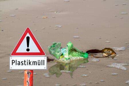 Warning sign plastic garbage oceans Zdjęcie Seryjne