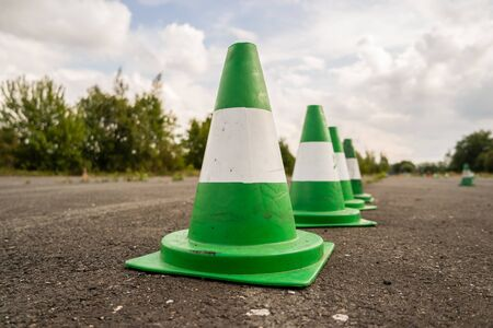 Green pylons driving exercise area