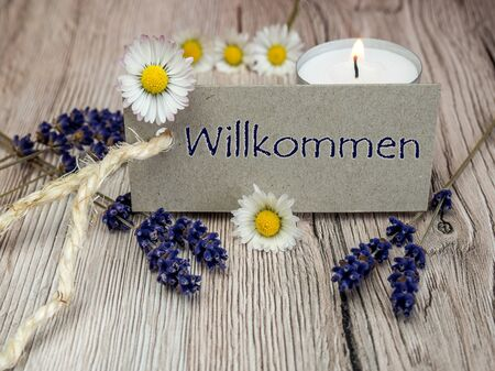 German Welcome - Decoration greeting lavender tealight