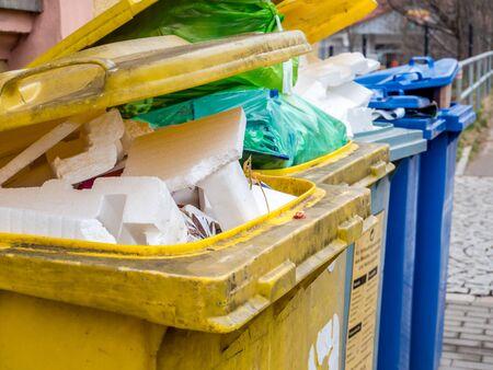 Plastic garbage in a garbage bin