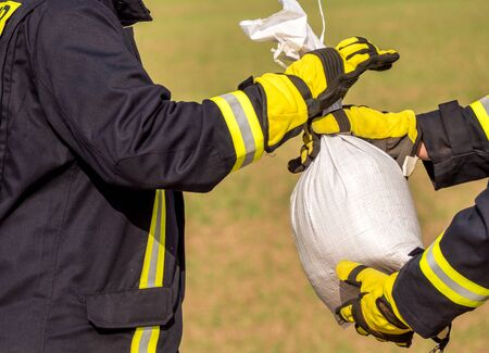Sandbag at the fire brigade Stock Photo