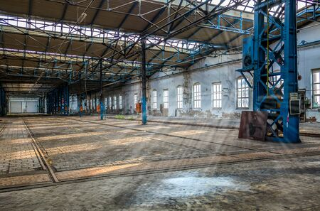 Sunbeams shine in an old factory Stock Photo