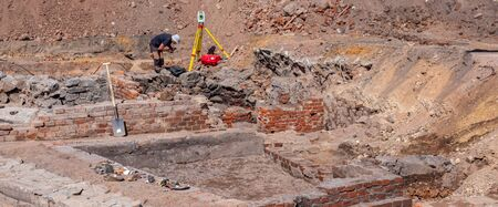 Panorama Historical excavations Wall ruin