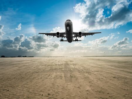 Vacation plane over the beach 스톡 콘텐츠