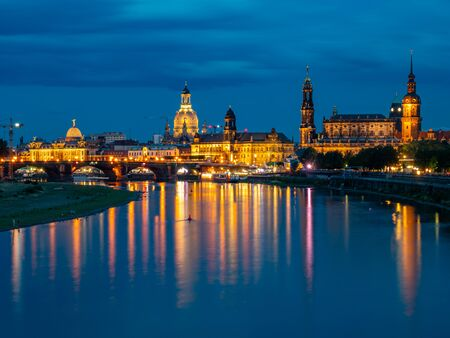 Dresden skyline in the blue hour