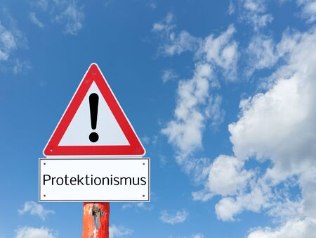 Warnsign protectionism on blue background in german