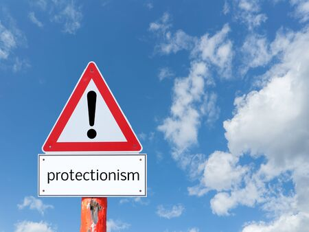 Warnsign protectionism on blue background