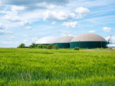 production de biogaz, usine de biogaz, bioénergie Banque d'images