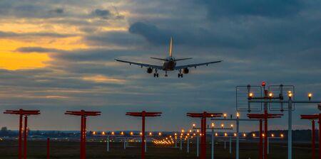 Panorama Passenger plane in landing approach