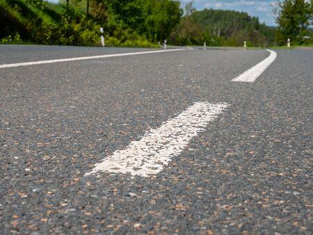 Road limit on the asphalt of a road