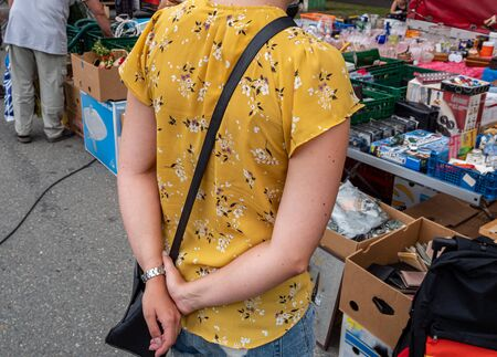 Young woman at the flea market
