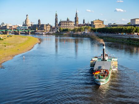 Steamer on the Elbe with Dresden skyline